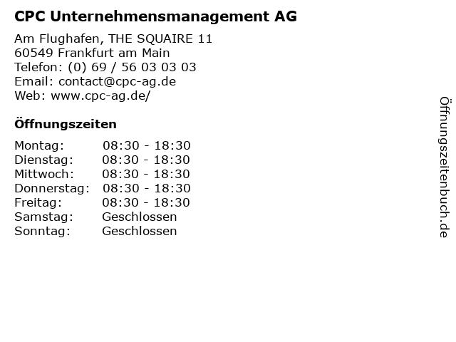 CPC Unternehmensmanagement AG in Frankfurt am Main: Adresse und Öffnungszeiten