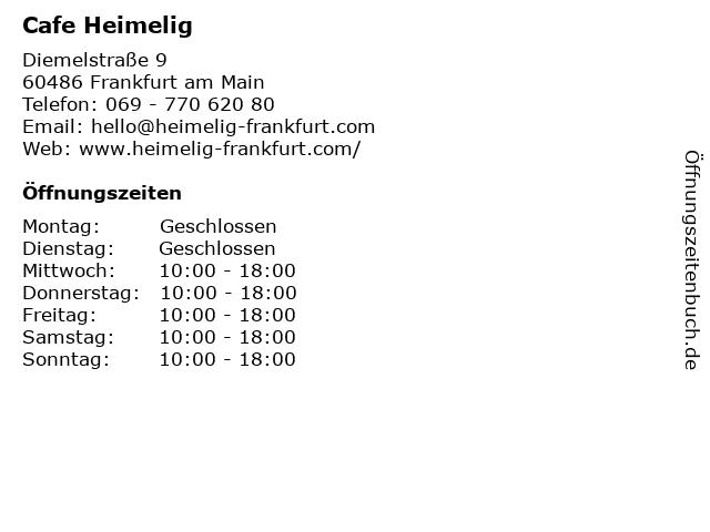 Cafe Heimelig in Frankfurt am Main: Adresse und Öffnungszeiten