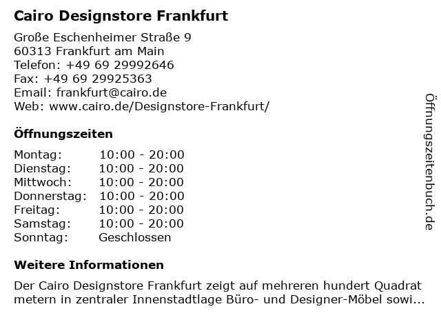 ᐅ öffnungszeiten Cairo Designstore Frankfurt Große Eschenheimer