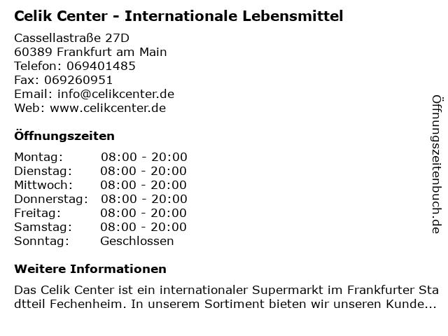Celik Center - Internationale Lebensmittel in Frankfurt am Main: Adresse und Öffnungszeiten