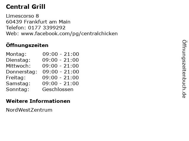 Central Grill in Frankfurt am Main: Adresse und Öffnungszeiten