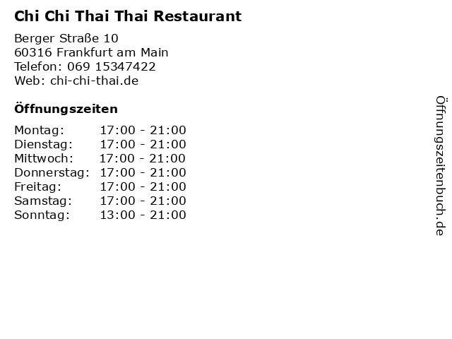 Chi Chi Thai Thai Restaurant in Frankfurt am Main: Adresse und Öffnungszeiten