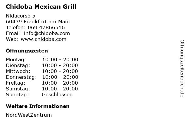 Chidoba Mexican Grill in Frankfurt am Main: Adresse und Öffnungszeiten