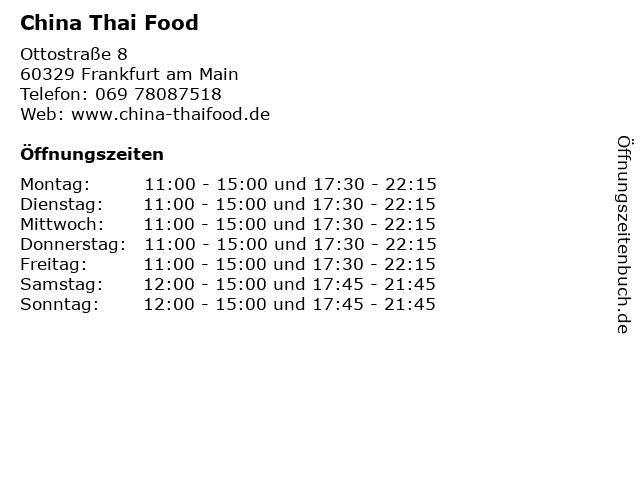 China Thai Food in Frankfurt am Main: Adresse und Öffnungszeiten