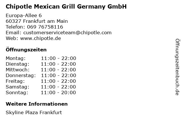 Chipotle Mexican Grill Germany GmbH in Frankfurt am Main: Adresse und Öffnungszeiten