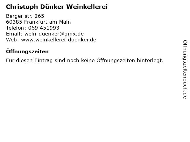Christoph Dünker Weinkellerei in Frankfurt am Main: Adresse und Öffnungszeiten