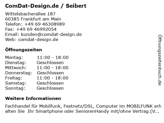 ComDat-Design.de / Seibert in Frankfurt am Main: Adresse und Öffnungszeiten
