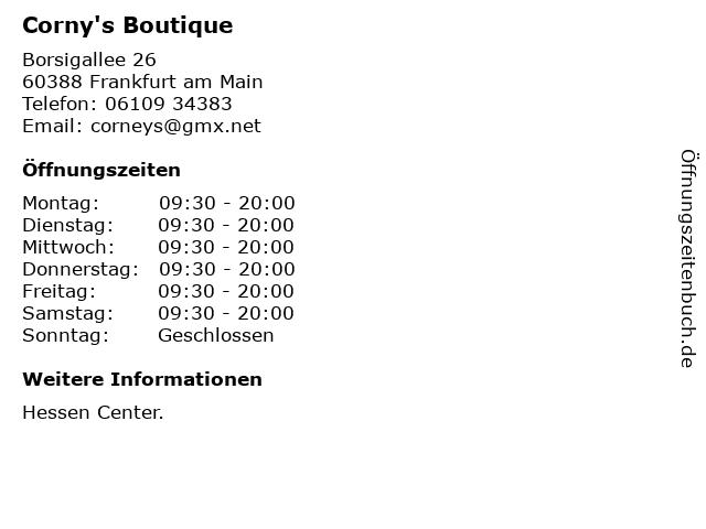 Corny's Boutique in Frankfurt am Main: Adresse und Öffnungszeiten