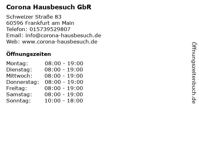Corona Hausbesuch GbR in Frankfurt am Main: Adresse und Öffnungszeiten