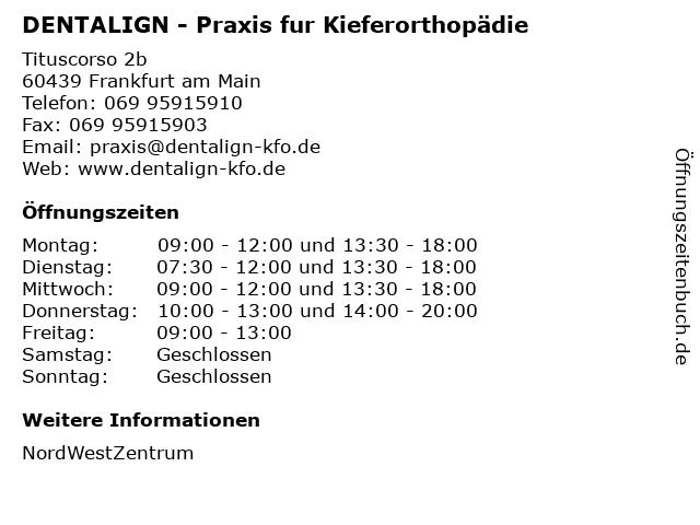 DENTALIGN - Praxis fur Kieferorthopädie in Frankfurt am Main: Adresse und Öffnungszeiten