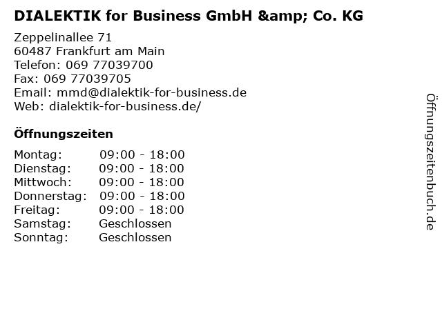DIALEKTIK for Business GmbH & Co. KG in Frankfurt am Main: Adresse und Öffnungszeiten