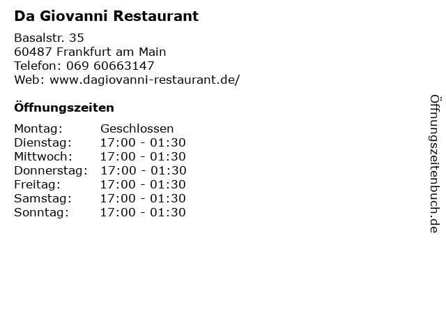 Da Giovanni Restaurant in Frankfurt am Main: Adresse und Öffnungszeiten