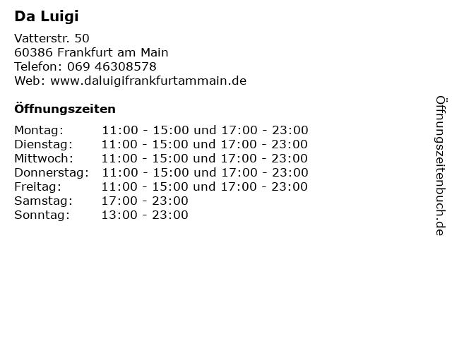 Da Luigi in Frankfurt am Main: Adresse und Öffnungszeiten