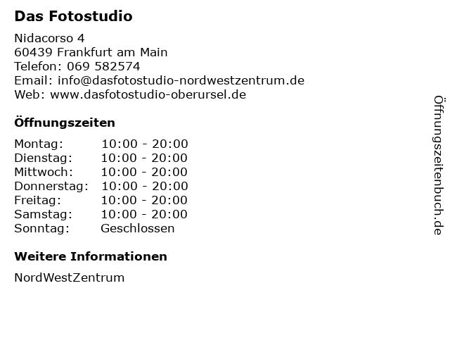 Das Fotostudio in Frankfurt am Main: Adresse und Öffnungszeiten