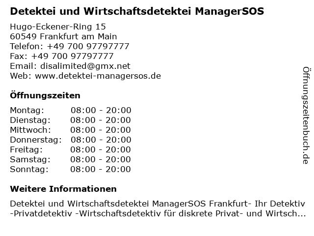 Detektei und Wirtschaftsdetektei ManagerSOS in Frankfurt am Main: Adresse und Öffnungszeiten