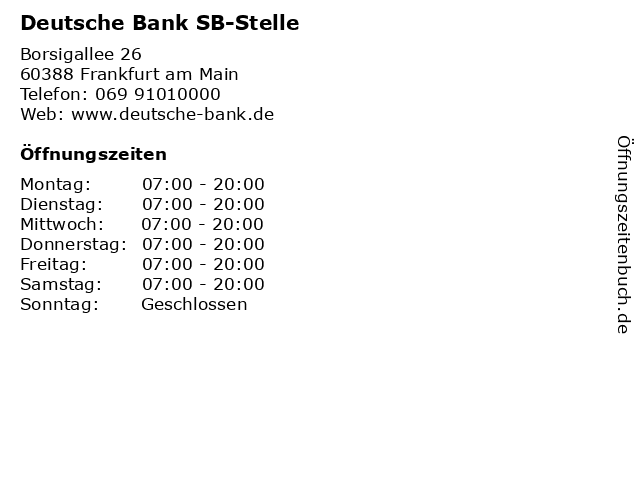 Deutsche Bank - Filiale in Frankfurt am Main: Adresse und Öffnungszeiten