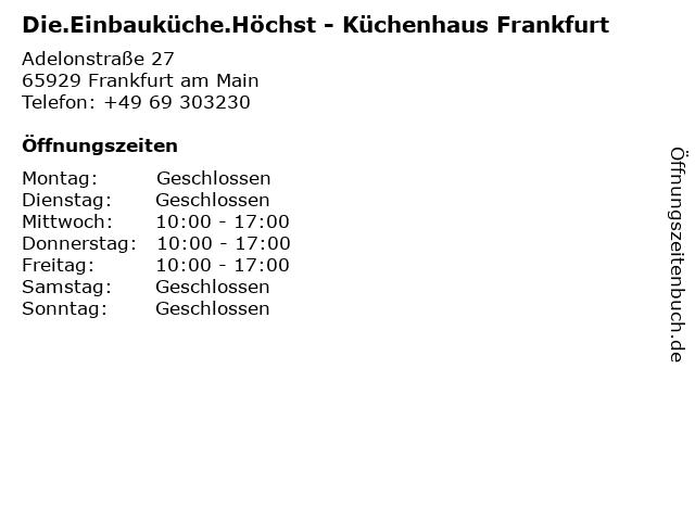 Die.Einbauküche.Höchst - Küchenhaus Frankfurt in Frankfurt am Main: Adresse und Öffnungszeiten