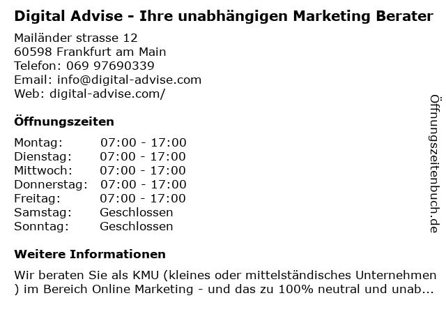 Digital Advise - Ihre unabhängigen Marketing Berater in Frankfurt am Main: Adresse und Öffnungszeiten