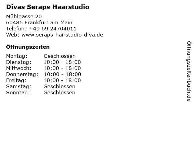 Divas Seraps Haarstudio in Frankfurt am Main: Adresse und Öffnungszeiten