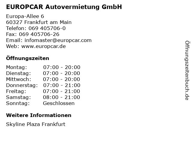 EUROPCAR Autovermietung GmbH in Frankfurt am Main: Adresse und Öffnungszeiten