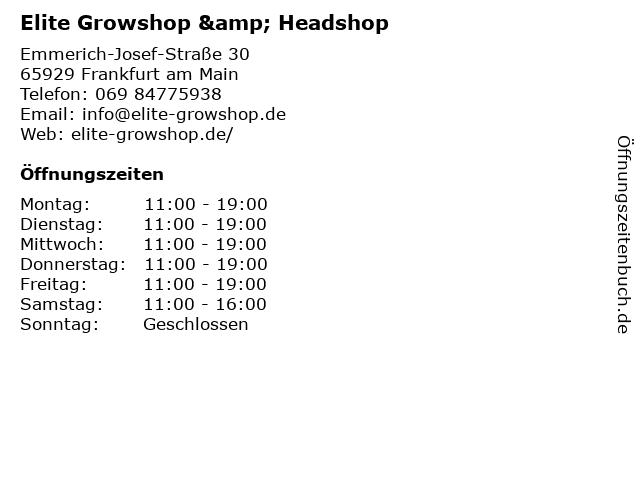 Elite Growshop & Headshop in Frankfurt am Main: Adresse und Öffnungszeiten