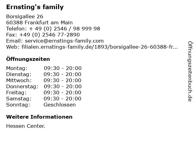 Ernsting's family in Frankfurt am Main: Adresse und Öffnungszeiten