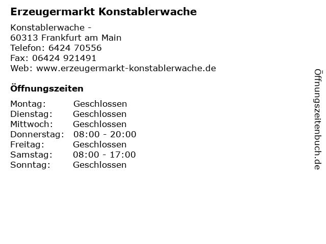 Erzeugermarkt Konstablerwache in Frankfurt am Main: Adresse und Öffnungszeiten