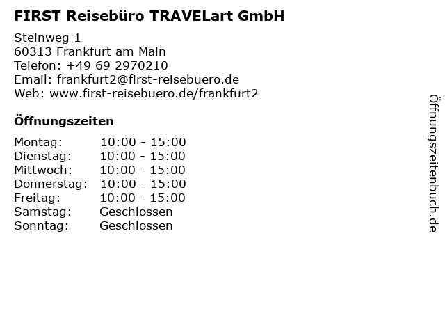 FIRST REISEBÜRO in Frankfurt: Adresse und Öffnungszeiten