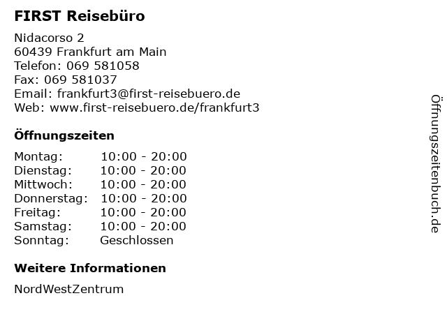 FIRST Reisebüro in Frankfurt am Main: Adresse und Öffnungszeiten