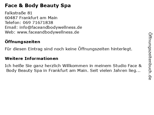 Face & Body Beauty Spa in Frankfurt am Main: Adresse und Öffnungszeiten