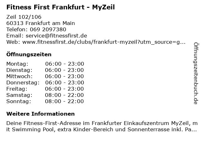 Fitness First Platinum Swim Club in Frankfurt am Main: Adresse und Öffnungszeiten