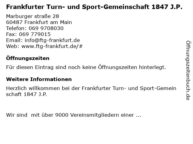 Frankfurter Turn- und Sport-Gemeinschaft 1847 J.P. in Frankfurt am Main: Adresse und Öffnungszeiten