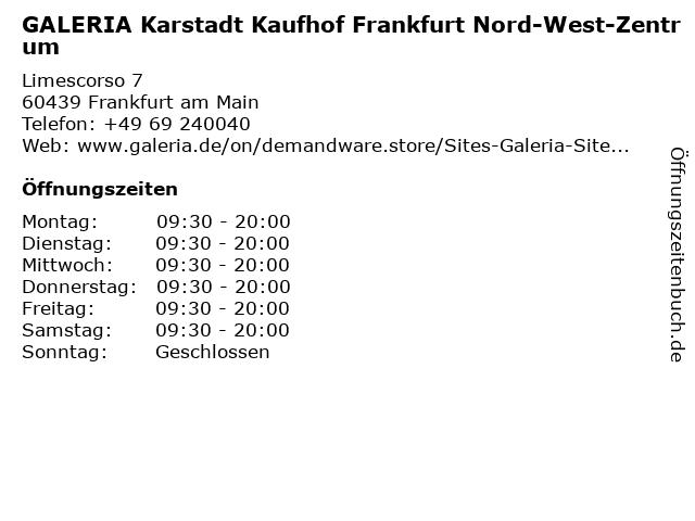 Galeria Kaufhof Frankfurt Nord-West-Zentrum in Frankfurt: Adresse und Öffnungszeiten