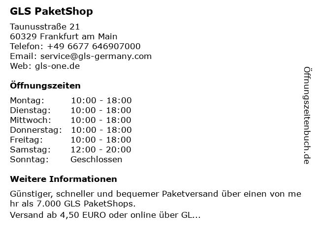 GLS PaketShop in Frankfurt am Main: Adresse und Öffnungszeiten
