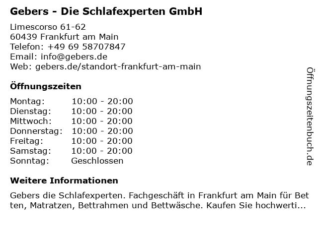 Gebers - Die Schlafexperten GmbH in Frankfurt am Main: Adresse und Öffnungszeiten