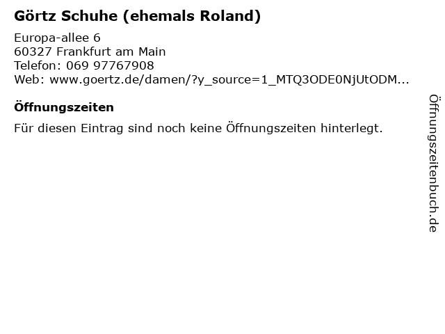 ROLAND Schuhe in Frankfurt (Main): Adresse und Öffnungszeiten