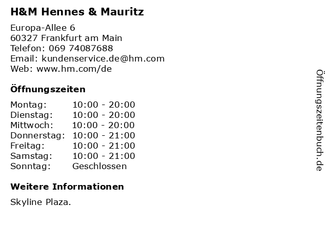 H&M Hennes & Mauritz in Frankfurt am Main: Adresse und Öffnungszeiten