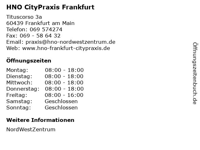 HNO CityPraxis Frankfurt in Frankfurt am Main: Adresse und Öffnungszeiten