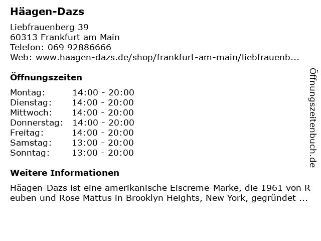 Häagen-Dazs in Frankfurt am Main: Adresse und Öffnungszeiten