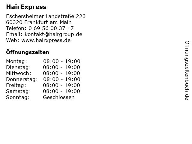 HairExpress in Frankfurt am Main: Adresse und Öffnungszeiten