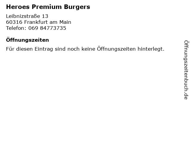 Heroes Premium Burgers in Frankfurt am Main: Adresse und Öffnungszeiten