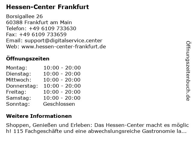 Hessen-Center Frankfurt in Frankfurt am Main: Adresse und Öffnungszeiten