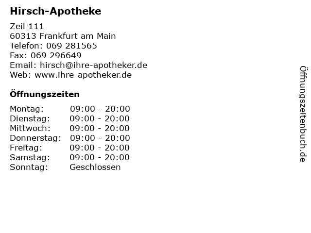 Hirsch-Apotheke in Frankfurt am Main: Adresse und Öffnungszeiten