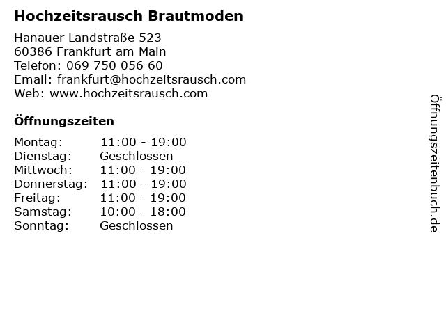 Hochzeitsrausch Brautmoden in Frankfurt am Main: Adresse und Öffnungszeiten