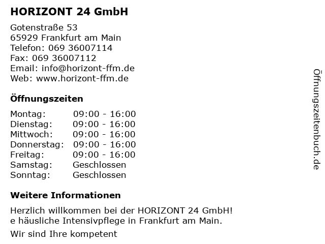 Horizont Intensivpflegedienst - Bürozeiten in Frankfurt am Main: Adresse und Öffnungszeiten