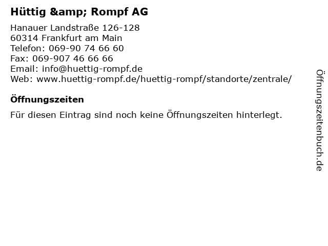 Hüttig & Rompf AG in Frankfurt am Main: Adresse und Öffnungszeiten