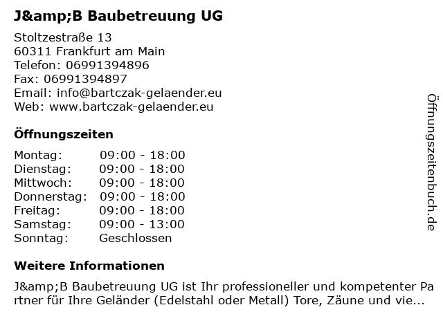 J&B Baubetreuung UG in Frankfurt am Main: Adresse und Öffnungszeiten
