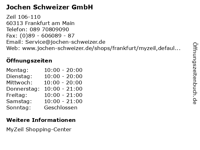 Jochen Schweizer GmbH in Frankfurt am Main: Adresse und Öffnungszeiten