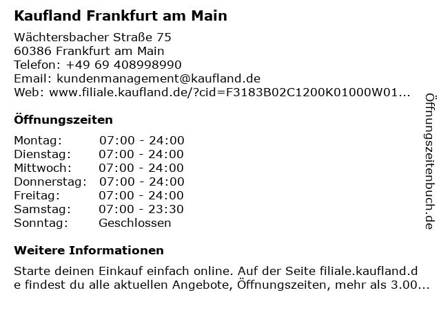 Kaufland Frankfurt am Main in Frankfurt am Main: Adresse und Öffnungszeiten