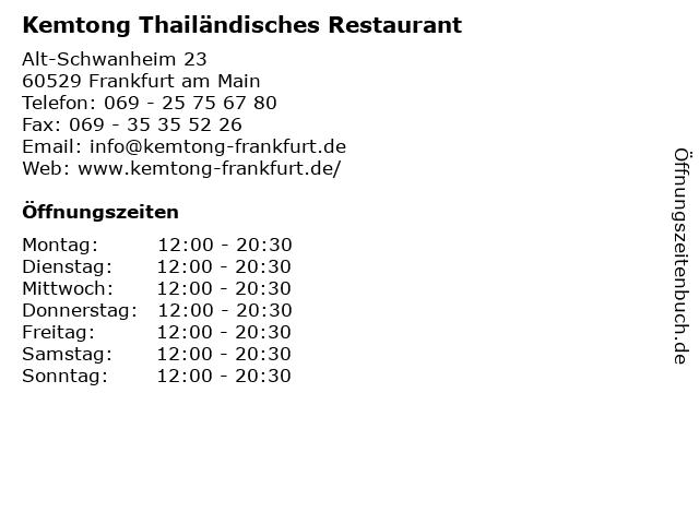 Kemtong Thailändisches Restaurant in Frankfurt am Main: Adresse und Öffnungszeiten